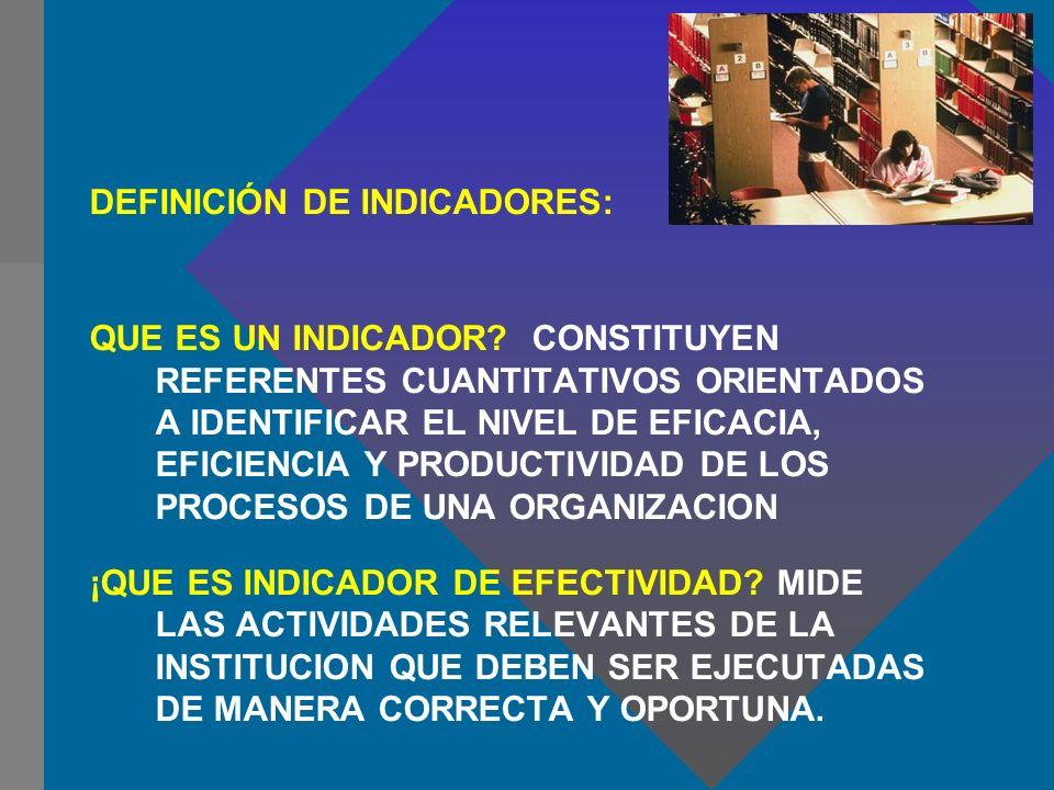 DEFINICIÓN DE INDICADORES:
