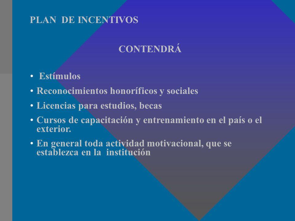 PLAN DE INCENTIVOS CONTENDRÁ. Estímulos. Reconocimientos honoríficos y sociales. Licencias para estudios, becas.