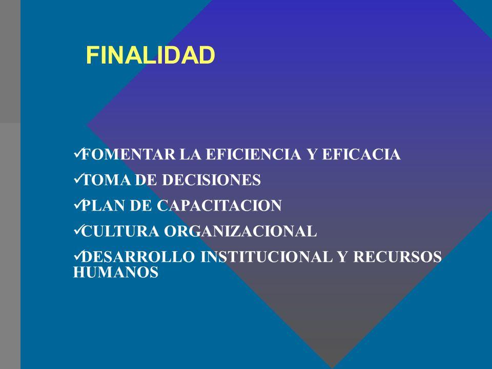 FINALIDAD FOMENTAR LA EFICIENCIA Y EFICACIA TOMA DE DECISIONES