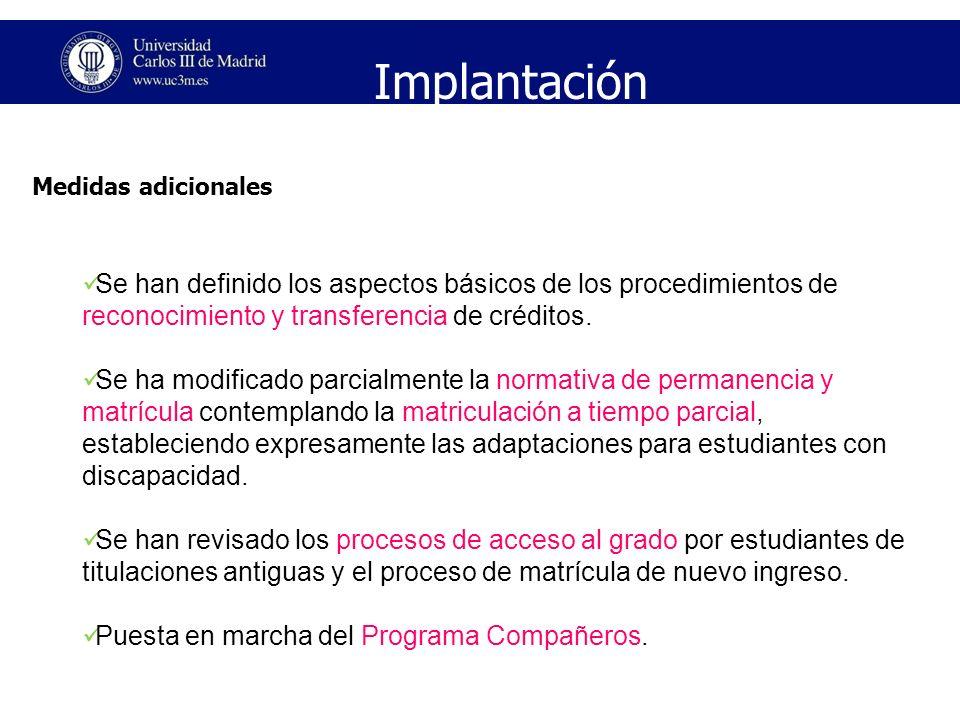 Implantación Medidas adicionales. Se han definido los aspectos básicos de los procedimientos de reconocimiento y transferencia de créditos.
