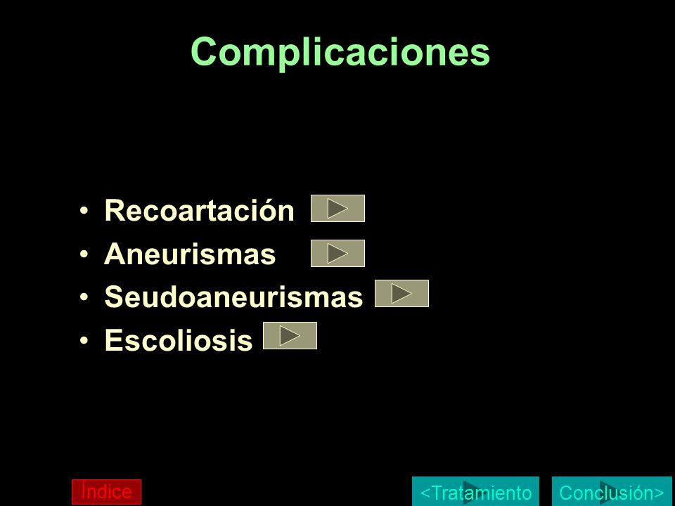 Complicaciones Recoartación Aneurismas Seudoaneurismas Escoliosis