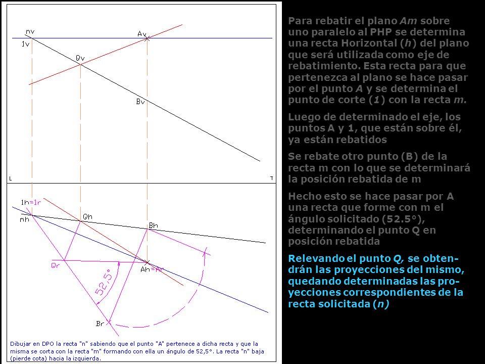 Para rebatir el plano Am sobre uno paralelo al PHP se determina una recta Horizontal (h) del plano que será utilizada como eje de rebatimiento. Esta recta para que pertenezca al plano se hace pasar por el punto A y se determina el punto de corte (1) con la recta m.