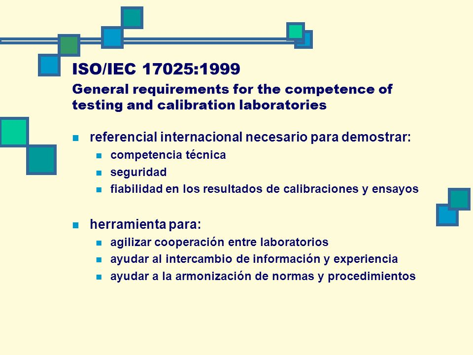 ISO/IEC 17025:1999 General requirements for the competence of testing and calibration laboratories.