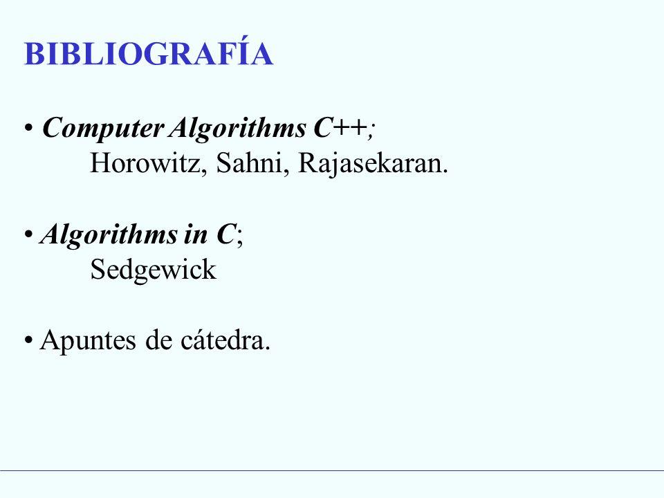 BIBLIOGRAFÍA Computer Algorithms C++; Horowitz, Sahni, Rajasekaran.