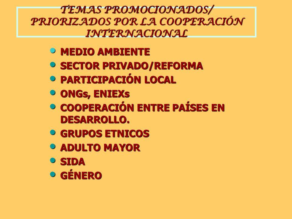 TEMAS PROMOCIONADOS/ PRIORIZADOS POR LA COOPERACIÓN INTERNACIONAL