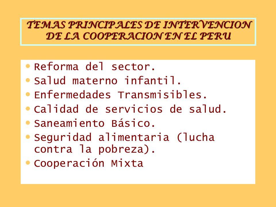 TEMAS PRINCIPALES DE INTERVENCION DE LA COOPERACION EN EL PERU