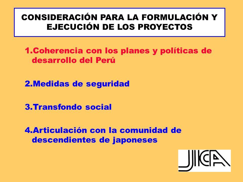 CONSIDERACIÓN PARA LA FORMULACIÓN Y EJECUCIÓN DE LOS PROYECTOS