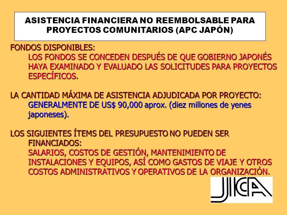 ASISTENCIA FINANCIERA NO REEMBOLSABLE PARA PROYECTOS COMUNITARIOS (APC JAPÓN)
