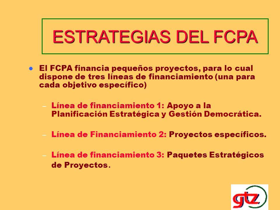 ESTRATEGIAS DEL FCPA El FCPA financia pequeños proyectos, para lo cual dispone de tres líneas de financiamiento (una para cada objetivo específico)