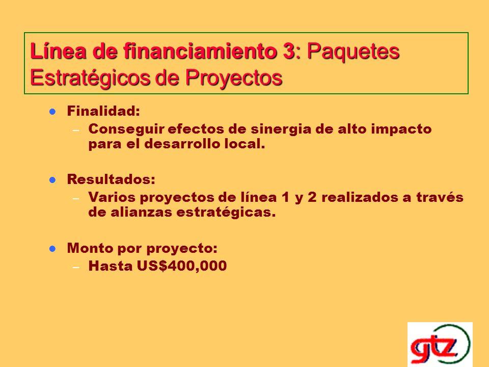 Línea de financiamiento 3: Paquetes Estratégicos de Proyectos