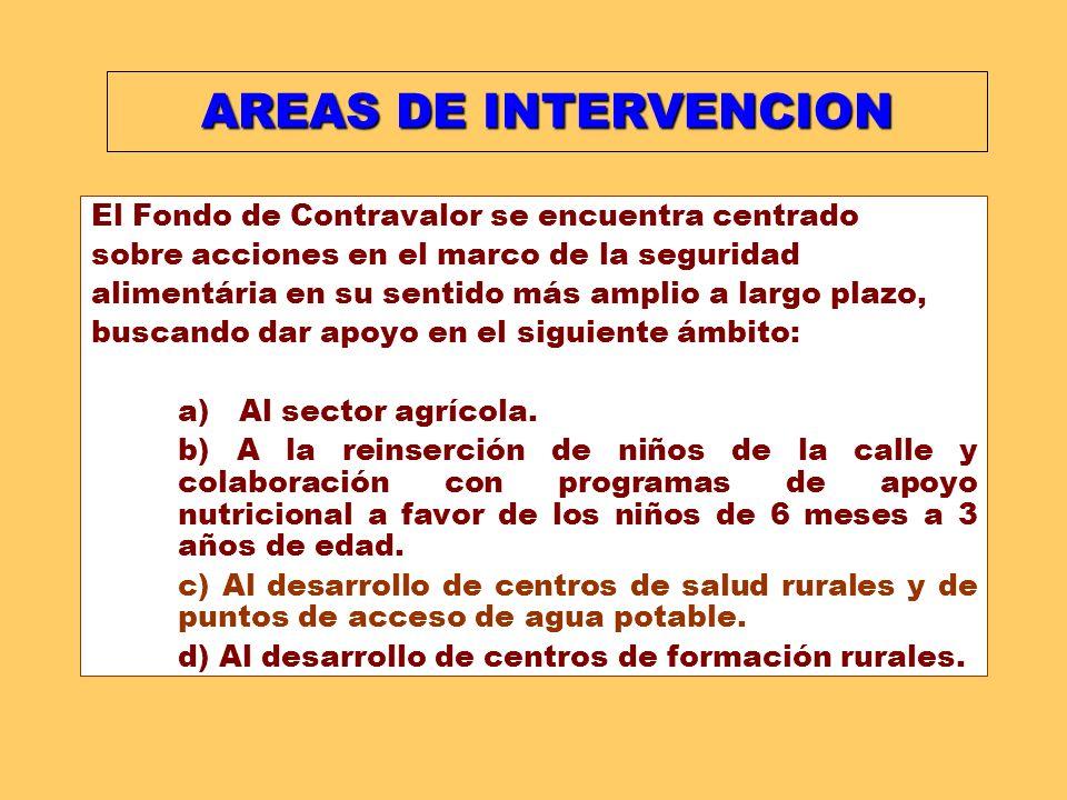 AREAS DE INTERVENCION El Fondo de Contravalor se encuentra centrado