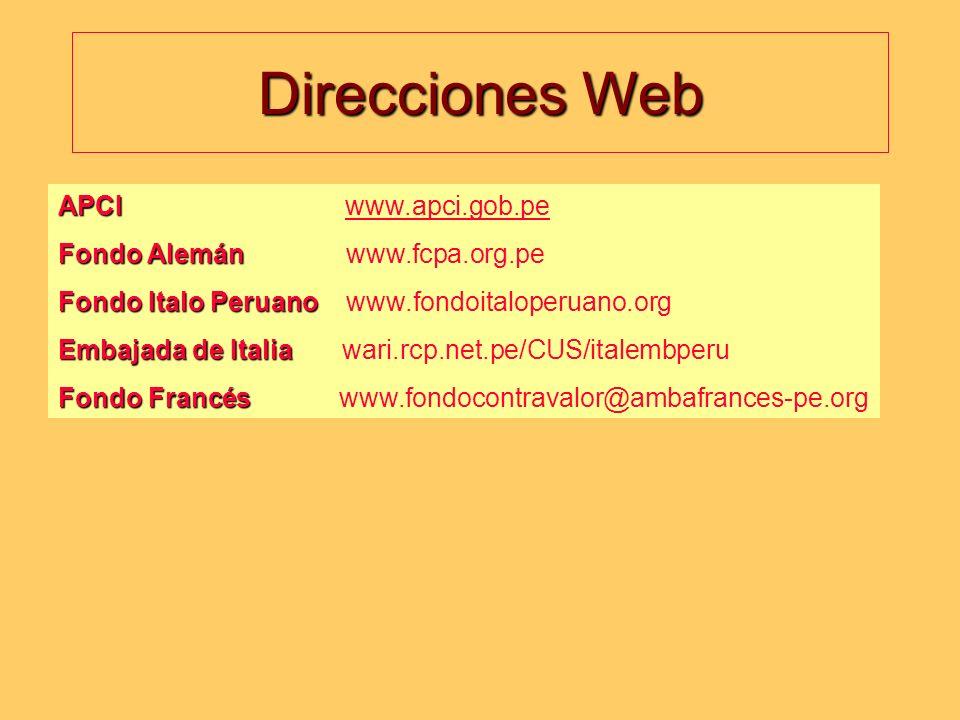 Direcciones Web APCI www.apci.gob.pe Fondo Alemán www.fcpa.org.pe