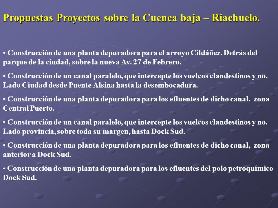 Propuestas Proyectos sobre la Cuenca baja – Riachuelo.