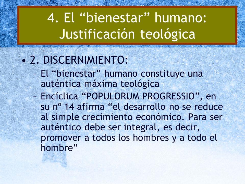 4. El bienestar humano: Justificación teológica