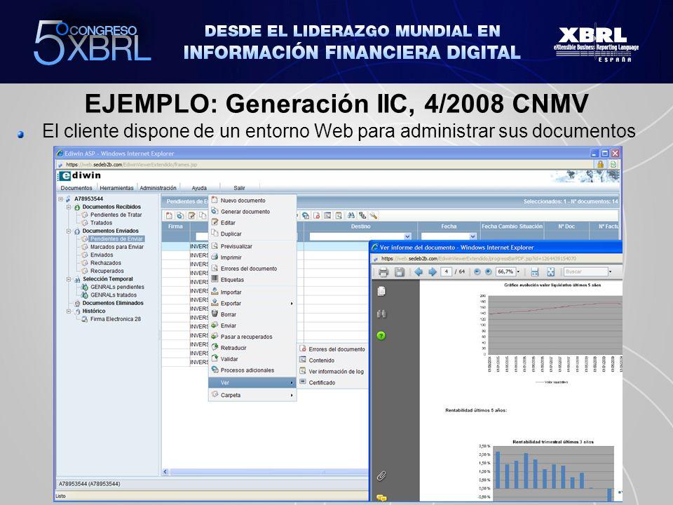 EJEMPLO: Generación IIC, 4/2008 CNMV