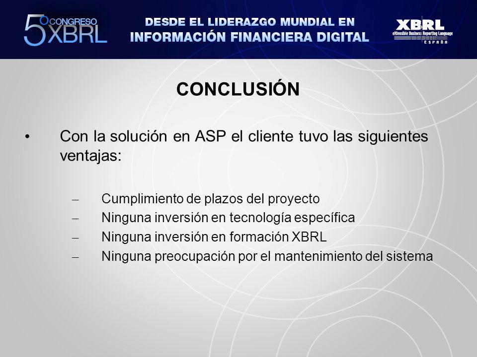 CONCLUSIÓN Con la solución en ASP el cliente tuvo las siguientes ventajas: Cumplimiento de plazos del proyecto.
