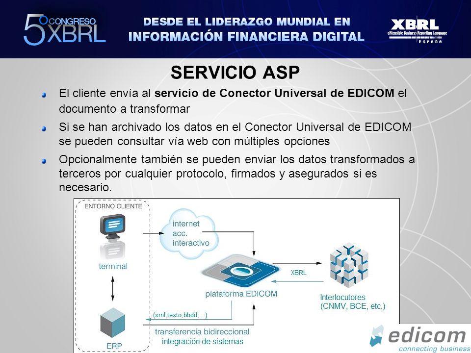 SERVICIO ASP El cliente envía al servicio de Conector Universal de EDICOM el documento a transformar.