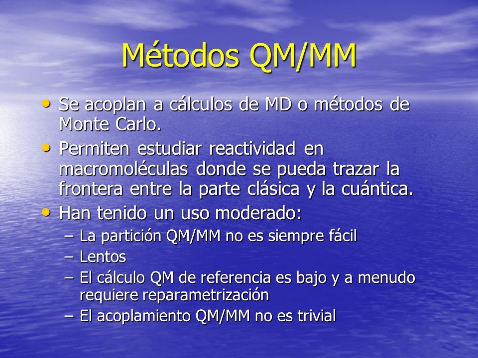 Métodos QM/MM Se acoplan a cálculos de MD o métodos de Monte Carlo.