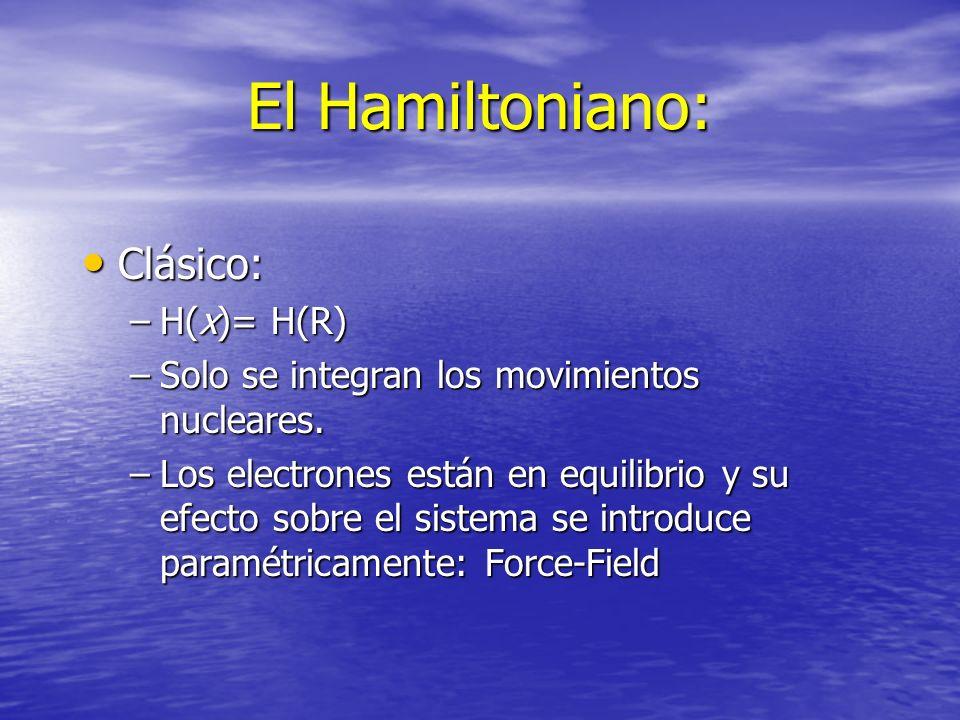 El Hamiltoniano: Clásico: H(x)= H(R)