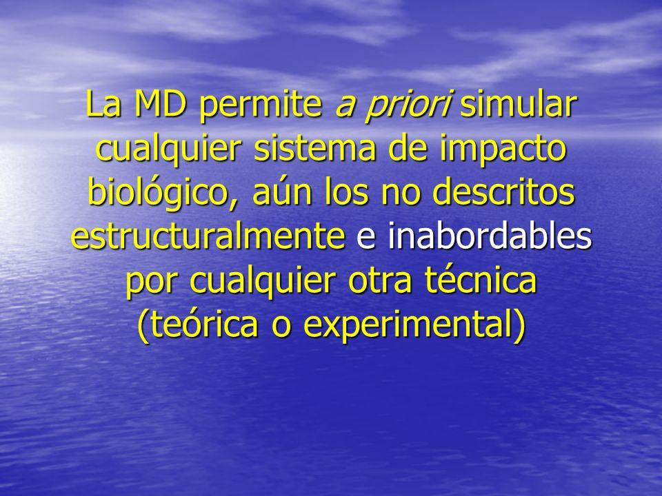 La MD permite a priori simular cualquier sistema de impacto biológico, aún los no descritos estructuralmente e inabordables por cualquier otra técnica (teórica o experimental)