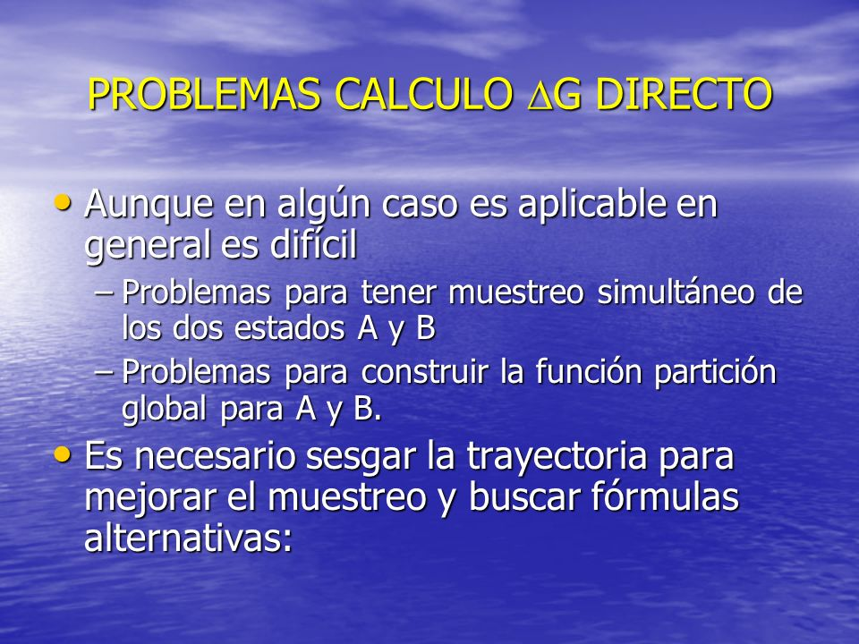 PROBLEMAS CALCULO DG DIRECTO