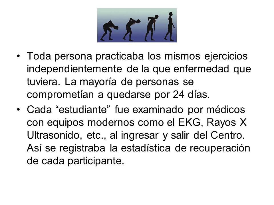 Toda persona practicaba los mismos ejercicios independientemente de la que enfermedad que tuviera. La mayoría de personas se comprometían a quedarse por 24 días.
