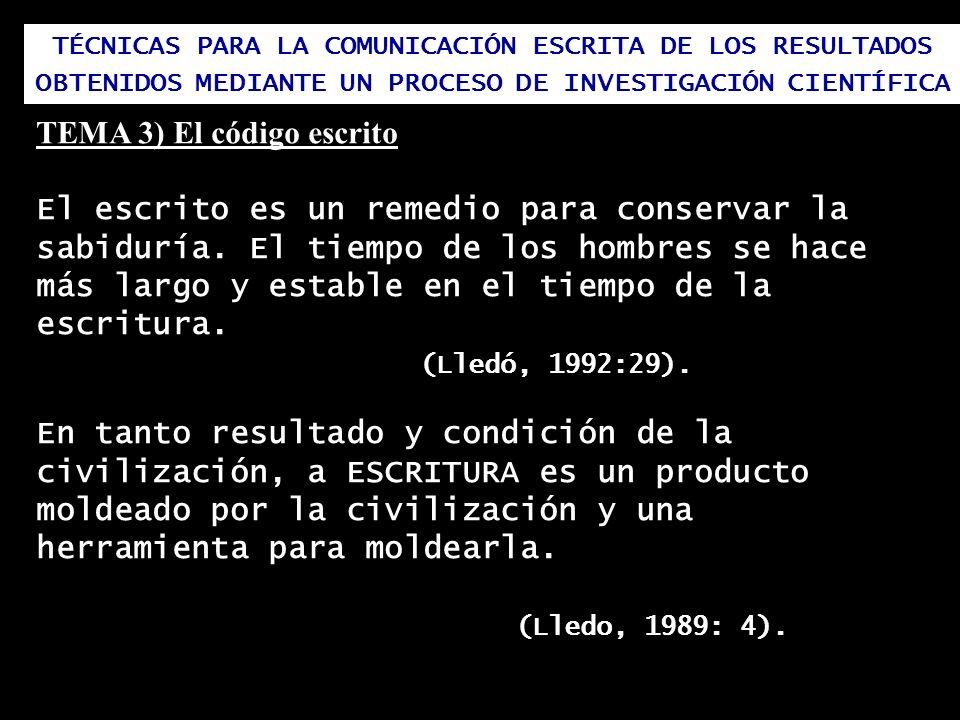 TEMA 3) El código escrito