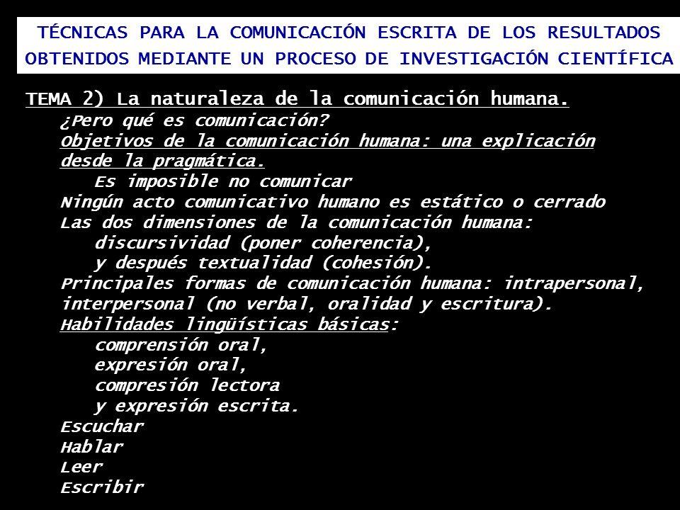 TEMA 2) La naturaleza de la comunicación humana.