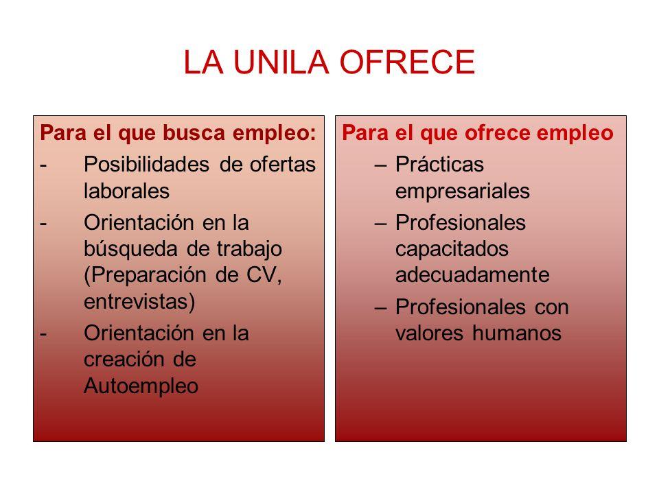 LA UNILA OFRECE Para el que busca empleo: