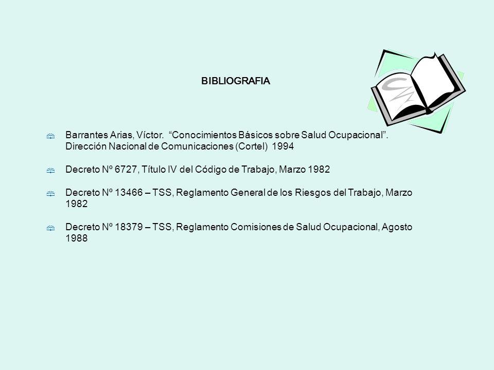 BIBLIOGRAFIA Barrantes Arias, Víctor. Conocimientos Básicos sobre Salud Ocupacional . Dirección Nacional de Comunicaciones (Cortel) 1994.