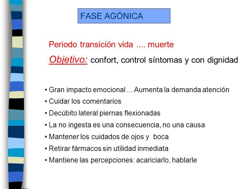 Objetivo: confort, control síntomas y con dignidad