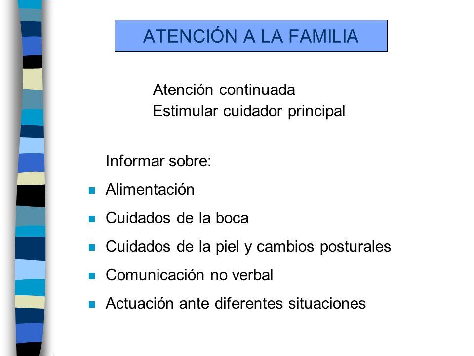 ATENCIÓN A LA FAMILIA Atención continuada Estimular cuidador principal