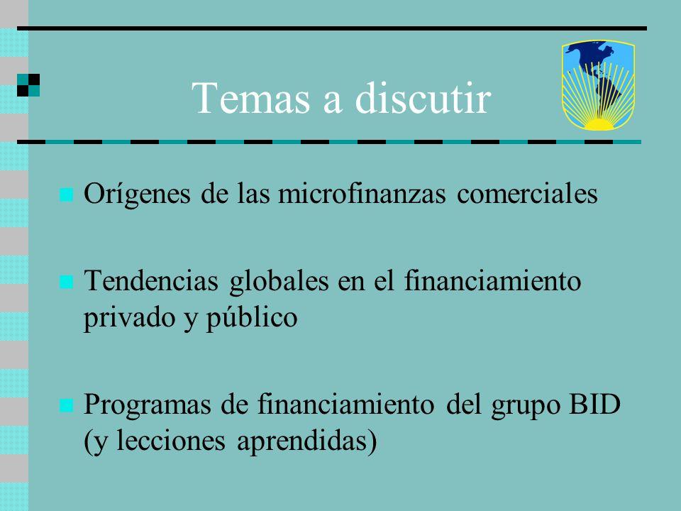 Temas a discutir Orígenes de las microfinanzas comerciales