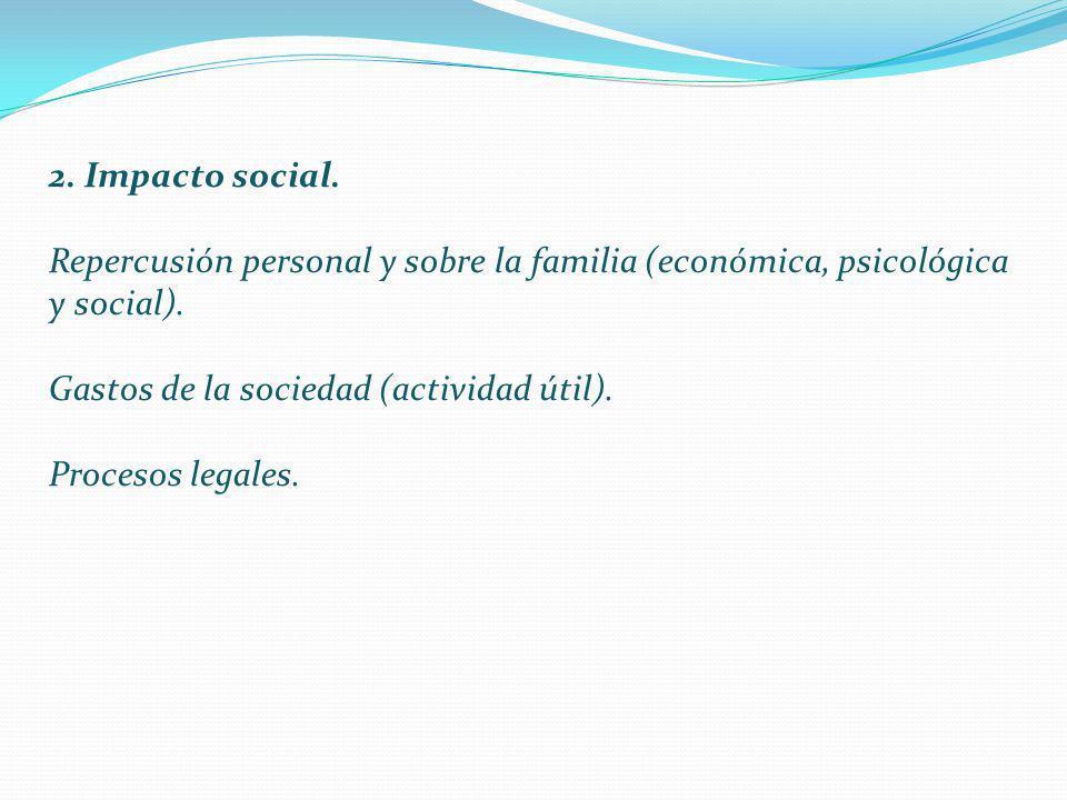 2. Impacto social. Repercusión personal y sobre la familia (económica, psicológica y social). Gastos de la sociedad (actividad útil).