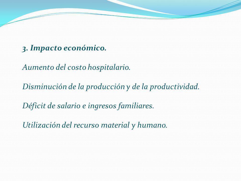 3. Impacto económico. Aumento del costo hospitalario. Disminución de la producción y de la productividad.