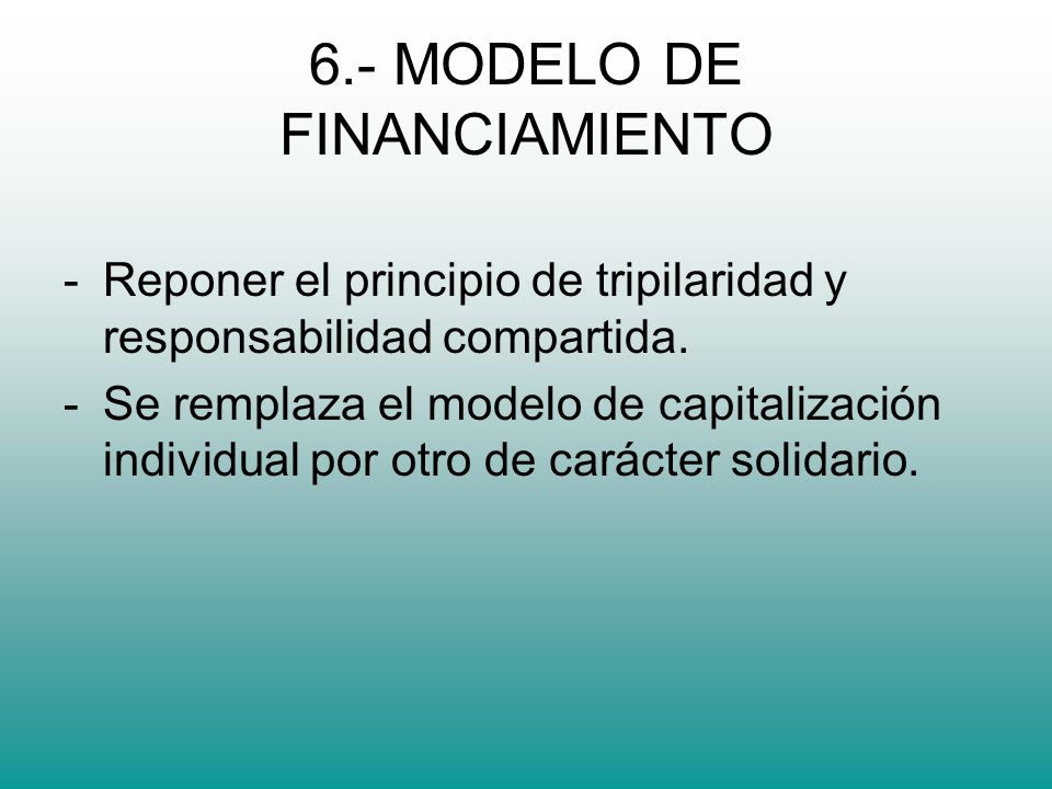 6.- MODELO DE FINANCIAMIENTO