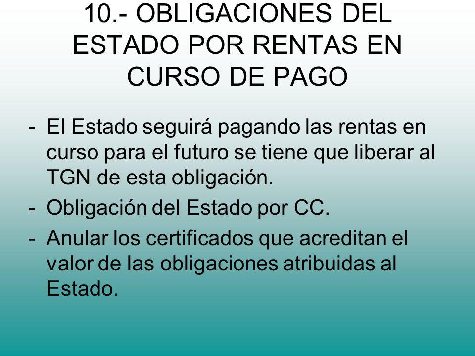 10.- OBLIGACIONES DEL ESTADO POR RENTAS EN CURSO DE PAGO