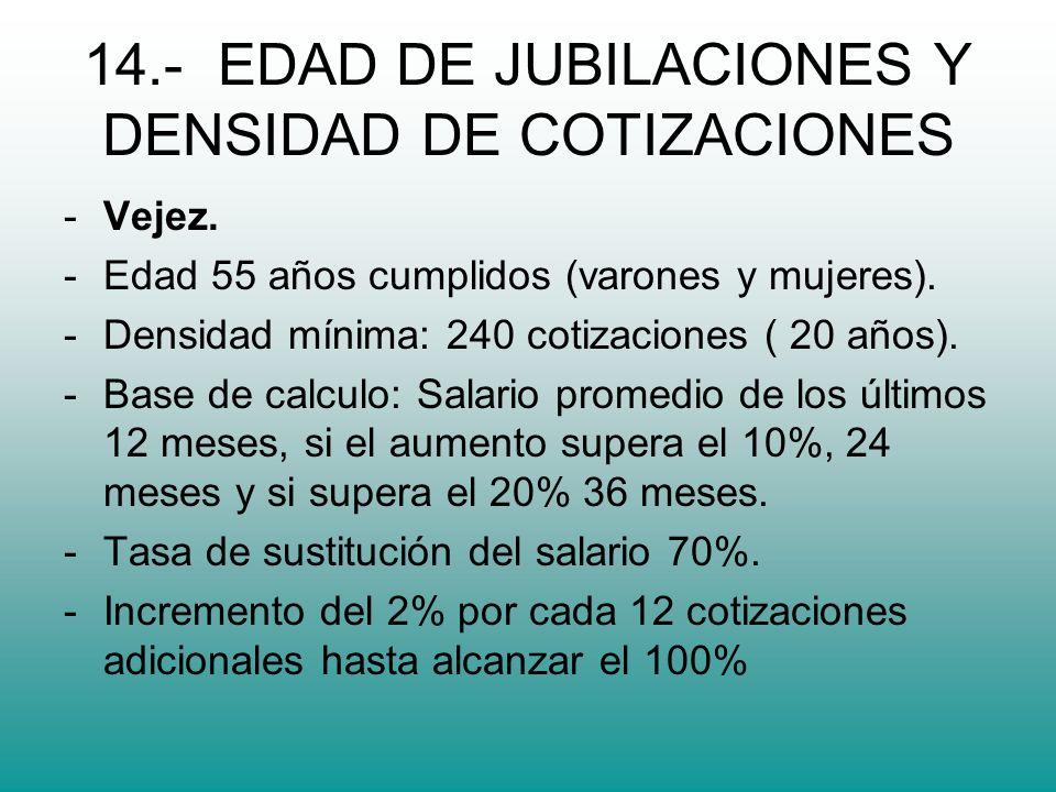 14.- EDAD DE JUBILACIONES Y DENSIDAD DE COTIZACIONES