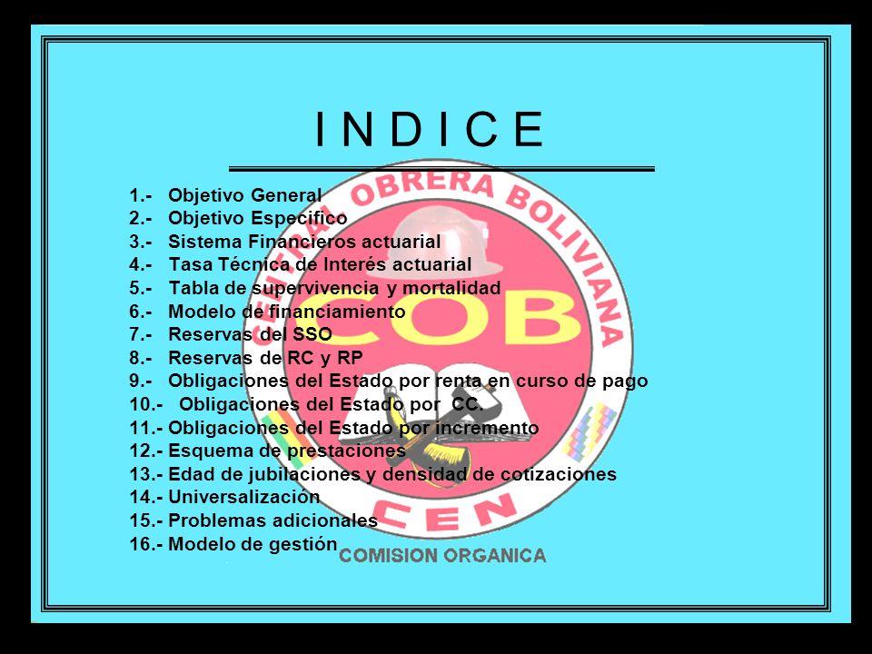 I N D I C E 1.- Objetivo General 2.- Objetivo Especifico