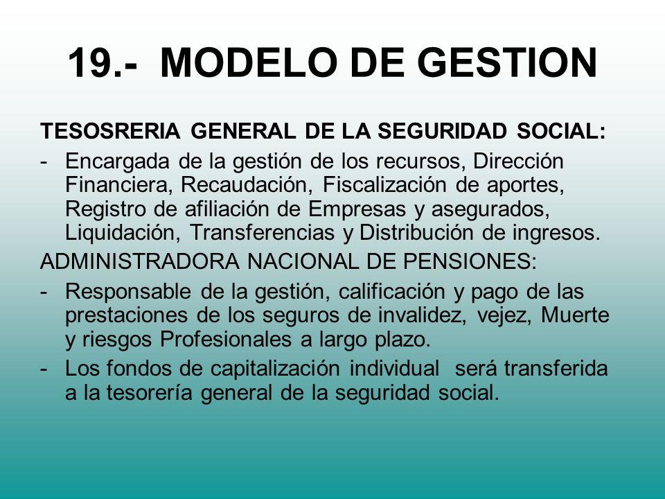 19.- MODELO DE GESTION TESOSRERIA GENERAL DE LA SEGURIDAD SOCIAL: