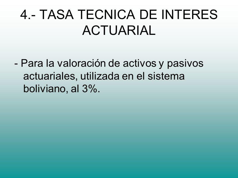 4.- TASA TECNICA DE INTERES ACTUARIAL