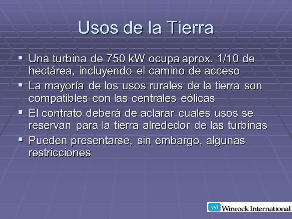 Usos de la Tierra Una turbina de 750 kW ocupa aprox. 1/10 de hectárea, incluyendo el camino de acceso.