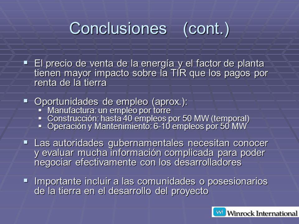 Conclusiones (cont.) El precio de venta de la energía y el factor de planta tienen mayor impacto sobre la TIR que los pagos por renta de la tierra.