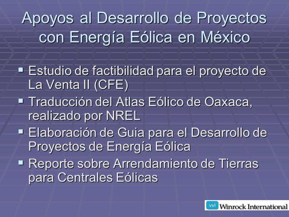 Apoyos al Desarrollo de Proyectos con Energía Eólica en México
