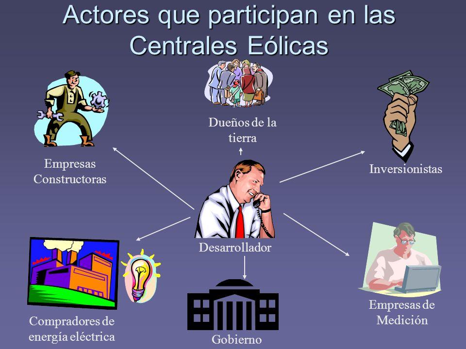 Actores que participan en las Centrales Eólicas