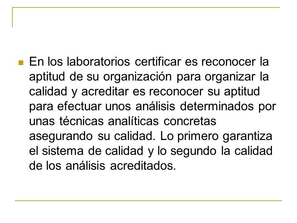 En los laboratorios certificar es reconocer la aptitud de su organización para organizar la calidad y acreditar es reconocer su aptitud para efectuar unos análisis determinados por unas técnicas analíticas concretas asegurando su calidad.