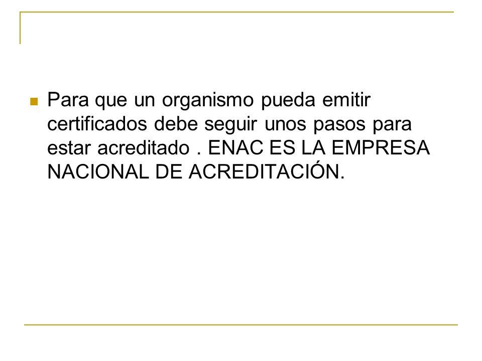 Para que un organismo pueda emitir certificados debe seguir unos pasos para estar acreditado .