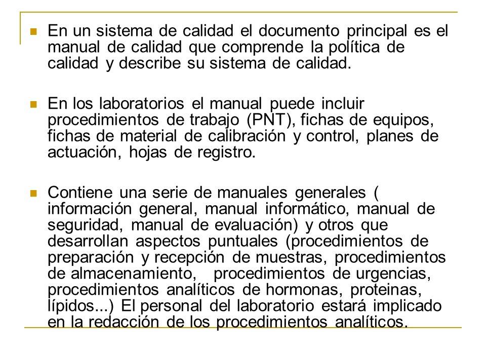 En un sistema de calidad el documento principal es el manual de calidad que comprende la política de calidad y describe su sistema de calidad.