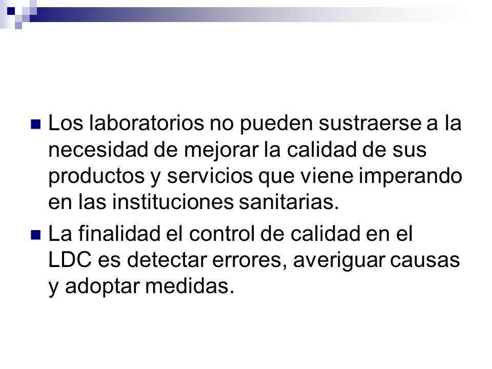 Los laboratorios no pueden sustraerse a la necesidad de mejorar la calidad de sus productos y servicios que viene imperando en las instituciones sanitarias.