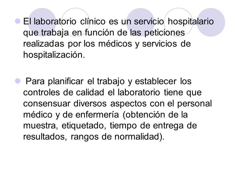 El laboratorio clínico es un servicio hospitalario que trabaja en función de las peticiones realizadas por los médicos y servicios de hospitalización.